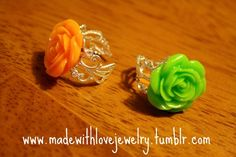 Orange and Lime Green Rose Rings    https://www.facebook.com/pages/Made-With-Love-Handmade-Jewelry-by-Shana/129313577493