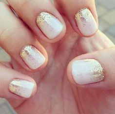 Lovely Gold and White Nails
