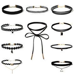 Best Deal New Fashion 10 Pieces Wanita Hitam Tali Choker kalung Set Peregangan Beludru Klasik Gothic Renda Choker Rantai Hadiah 1 Set