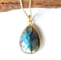 Keahi necklace  labradorite gold necklace bezel by kealohajewelry, $89.00