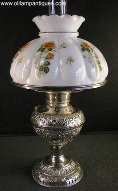 Juno Embossed Nickel Oil Lamp Kerosene Lamp | Oil Lamp Antiques