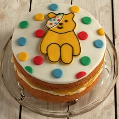 This light lemon flavoured sponge cake filled with lemon curd is perfect for a fundraising bake sale. We have used a Pusdey cutter to get the perfect shape. Cake Recipes For Kids, Baking Recipes, Baking Ideas, Kids Baking, Dessert Recipes, Desserts, Lemon Sponge Cake, Sponge Cake Recipes, Children In Need Cakes