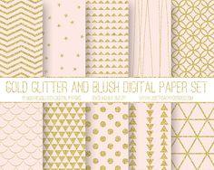 Modern Digital Paper Blush and Glitter Gold by JustPeachyDigitals