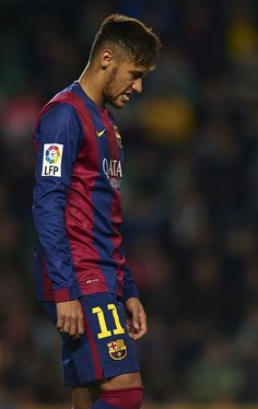 Neymar JR of Barcelona reacts as he fails to score during the La Liga match between Elche FC and FC Barcelona at Estadio Manuel Martinez Valero on January 24, 2015 in Elche, Spain.