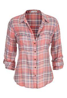 plaid button down shirt in peach #maurices