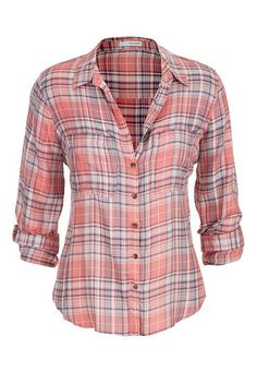 plaid button down shirt in peach (original price, $29) available at #Maurices