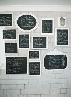 table assignments on chalkboards in lieu of escort cards #chalkboard #escort #gallery