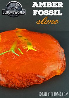 Jurassic World Inspired Amber Fossil Slime...sooooo making this for the kiddos this summer!