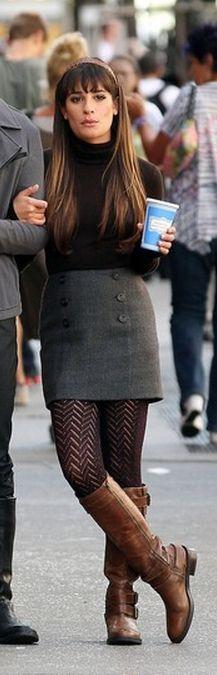 Lea Michele: Skirt - Halogen Shoes - Enzo Angiolini Halogen® Double Button Pencil Skirt Enzo Angiolini 'Saylem' Riding Boot