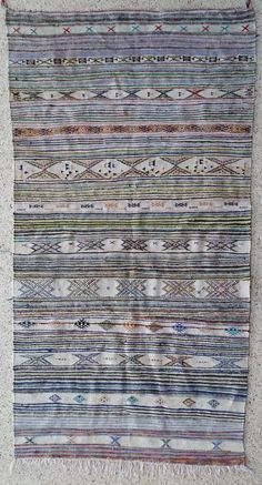 "110""X59"" Vintage Moroccan rug woven by hand from scraps of fabric / boucherouite / boucherouette"