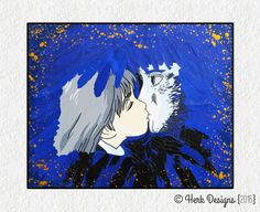 "Studio Ghibli Hayao Miyazaki Sophie and Howl Kiss ""Howl's Moving Castle"" Mixed Media Handcut Papercraft Modern Contemporary Pop Fine Art"