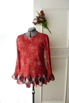 long sleeve tshirt , Festival top, Boho, Hippie, gypsy, Womens Upcycled Clothing, Recycled, Eco Friendly Clothing, OOAK, red floral, checked ruffle, cotton , unique, OOAK, romantic, feminine, athleisure wear, FREE SHIPPING! We took this long sleeve tshirt and added a checked ruffle on