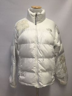 3f43a6c259e4 North Face Women's White Jacket Coat Puffer Down Embroidered Flowers Size M  | eBay North Face