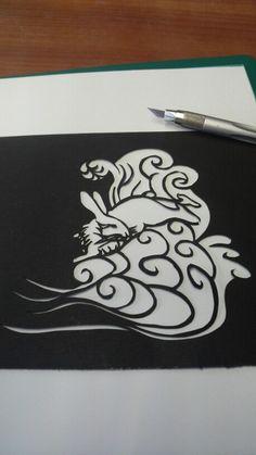 梅太郎作品 波兎(切り絵)