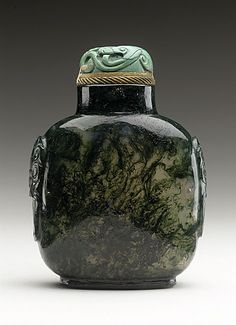 Snuff Bottle (Biyanhu) with Mock Mask Handles, China, Qing dynasty, Daoquang period, 1821-1850, Carved moss agate