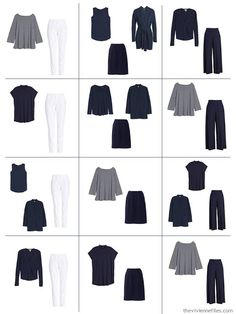 12 outfits from a 10-piece Common Wardrobe in navy and white for spring