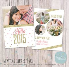 New Year Card 2015  Gold Glitter Photoshop by PaperLarkDesigns