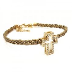 Cubic Zirconia Cross Leather Braided Bracelet