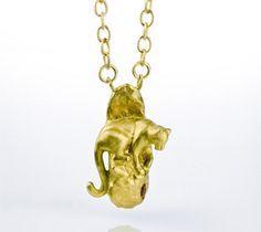 Handmade 18K gold leopard necklace, Daphna Simon