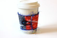 Eco Friendly Reusable Coffee Cup Cozy   Cherry Red and Slate Black by taradara, $15.00