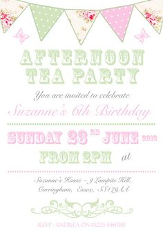 Victorian High Tea Party InvitationsSurprise Party Invitation