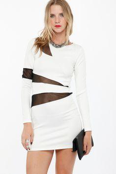 Mesh Inset Scuba Bodycon Dress