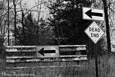 Dead End / Vintage, Rustic, 'Grunge' Metal Signage / Black and White, B&W, Monochrome / High Res Print / Fine Art Photography Print by PhotoClique on Etsy