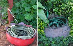 Creative and Cool Ways to Reuse Old Tires 21 Tire Garden, Pallets Garden, Garden Gates, Garden Hose Storage, Garden Hose Holder, Hose Roller, Reuse Old Tires, Hose Hanger, Australian Garden