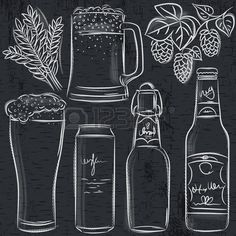 Illustration of set of beer bottle on blackboard, vector vector art, clipart and stock vectors. Blackboard Art, Chalkboard Lettering, Chalkboard Designs, Blackboard Drawing, Chalk Wall, Chalk Board, Diy Wall Painting, Beer Art, Chalk Drawings