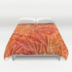 Spice+Island+Duvet+Cover+by+Vikki+Salmela+-+$99.00 #jungle #hot #tropical #orange #batik #Hawaiian #flowers on #duvet #cover for #bedroom #bed #home #decor by #vikkisalmela.