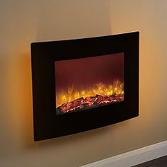 Buy Be Modern Quattro Curved Black Glass Wall Mounted LED Electric Fire securely online today at a great price. Be Modern Quattro Curved Black Glass Wall Mounted LED Electric Fi. Wall Hung Electric Fires, Modern Electric Fires, Wall Mounted Electric Fires, Wall Mount Electric Fireplace, Fireplace Wall, Wall Fireplaces, Fireplace Ideas, Log Burning Stoves, Living Room Furniture Sale