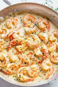 This 10 minute creamy garlic shrimp is a winner of the .- Diese cremige Knoblauchgarnele ist ein Gewinner des Abendessens – Leckeres Essen This 10 minute creamy garlic shrimp is a dinner winner healthy - Shrimp Recipes For Dinner, Shrimp Recipes Easy, Fish Recipes, Seafood Recipes, Easy Dinner Recipes, Easy Meals, Garlic Shrimp Recipes, Recipe Chicken, Dinner Ideas