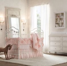 RH baby&child's Washed Appliquéd Fleur Crib Bumper:A texture-rich composition of gathers and blooms, created using ruching and appliqués on airy cotton voile, gives our bedding a decidedly feminine feel.