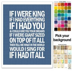 Song Lyric Print - Dave Matthews If I Had It All - typography subway style - custom colors - DMB LYR Song Lyric Quotes, Music Lyrics, I Love Music, Music Is Life, Fire Dancer, Band Pictures, Dave Matthews Band, Sing To Me, Him Band