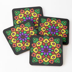 """Flower of Life Mandala"" Coasters (Set of 4) by Pultzar 