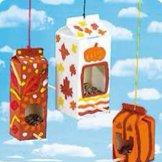 recycle kids crafts bird feeders (autumn activities for kids rainy days) Kids Crafts, Recycled Crafts Kids, Fall Crafts For Kids, Preschool Crafts, Projects For Kids, Art For Kids, Craft Projects, Craft Ideas, Recycle Crafts