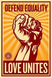 """Shepard Fairey has created a new poster, """"Defend Equality, Love Unites"""" to raise awareness and funds for the movement to overturn CA Proposition Keith Olbermann's Special Comment on Prop It's """"About The Human Heart"""" illustration by Shepard Lgbt Rights, Human Rights, Equal Rights, Civil Rights, Marriage Rights, Shepard Fairey Obey, Pop Art, Tachisme, Political Art"""