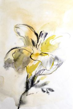 Original Watercolor painting of a yellow flower. Contemporary floral water color art for living room. Watercolour picture. Unusual present.  It