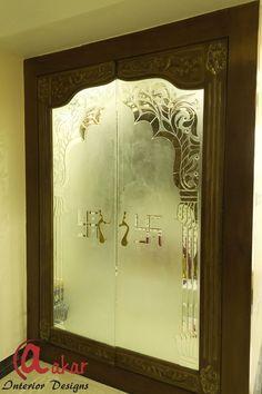 Here you will find photos of interior design ideas. Get inspired! Pooja Room Door Design, Door Gate Design, Home Room Design, Living Room Designs, House Design, Ceiling Design, Wall Design, Wooden Glass Door, Glass Doors