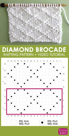 Love this easy-to-follow Knitting Chart Diamond Brocade Knit Stitch Pattern by Studio Knit with Free Pattern and Video Tutorial. #StudioKnit #knittingpattern #knitstitchpattern #knitting #freepattern