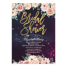 Modern Floral Purple Sparkle Lights Bridal Shower Card - script gifts template templates diy customize personalize special