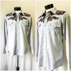 Mens Vintage Western Yoke Grey and Floral Button Up by Karman // Mens Retro Grey and Floral Western Pearl Snap Shirt