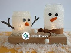 Zimní tvoření s dětmi - návod krok za krokem na sněhuláka ze zavařovací sklenice. Christmas Holidays, Christmas Crafts, Christmas Decorations, General Crafts, Decorating Your Home, Snow Globes, Advent, Snowman, Origami