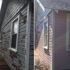 Before and After...Our team updated this fantastic Fire Island home with a fresh coat of Benjamin Moore Aura Kept Love Letters (CSP-425) and Cake Batter (CSP-215) for the trim and peaks. An absolutely beautiful transformation for a beautiful home!