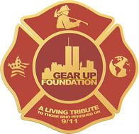 Gear Up Foundation logo, we are dedicated to honor those who died on 9/11 and those first responders who are sick and dying after. Designed originally by Debbie, updated by Craig Keller .