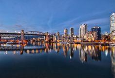 False Creek and Burrard St. Hdr, Vancouver, New York Skyline, Bridge, Landscapes, Learning, Twitter, Christmas, Travel