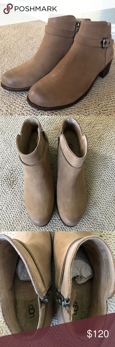 UGG Bellamy woman tan leather boots 👢 UGG Australia 'Bellamy'  Tan / Brown Leather Chelsea Ankle Boots Size 8 medium   Brand new🎁with 📦!!  100% Shearling footbed * has some little spots, nothing big most likely from being handled . UGG Shoes Winter & Rain Boots