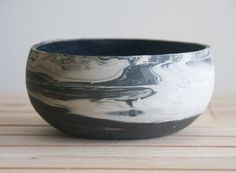Black friday sale Marbled ceramic bowl in black and by ONEandMANY