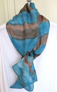 Silk scarf Aqua and brown striped design by SilkDesignByJane, $35.00