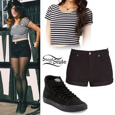 Tay Jardine: Striped Crop Top, Black Shorts I love the sheer tights with it!!!